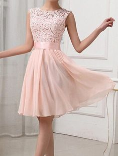 Sexy Round Collar Sleeveless Spliced Hollow Out Women's Club Dress: $16.14.... @markiej94 What do you think of this? too pink?