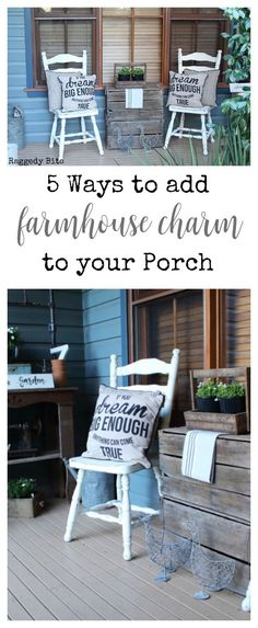 Sharing 5 Ways to Add Farmhouse Charm to your Porch by using upcycled and repurposed decor. Most of the decor can be found at your local thrift store. Country Farmhouse Decor, Farmhouse Style, Country Porches, Southern Farmhouse, Southern Porches, Farmhouse Remodel, Farmhouse Interior, Farmhouse Plans, Funky Home Decor