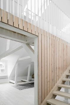 Simple Stockholm Apartment Showcases Building's Original Frame - Simple Stockholm Apartment Showcases Building's Original Frame Simple Stockholm Apartment Showcases Building's Original Frame Arch Interior, Interior Stairs, Interior And Exterior, Wood Cladding Interior, Wall Cladding, Architecture Details, Interior Architecture, Amazing Architecture, Apartment Showcase