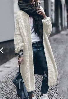 Cashmere Batwing Sleeve Knit Coat Fall/Winter 2018 - Stuff to buy - Mode Casual Skirt Outfits, Mode Outfits, Stylish Outfits, Fashion Outfits, Womens Fashion, Fashion Trends, Ladies Fashion, Fashion Ideas, Winter Sweaters