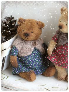 """do you have christmas mood yet? I have))) Small """"bear in hand"""" will bring it to you:) only 5,5 inch made of of viscose Shulte stuffed sawdust and mineral granulate"""