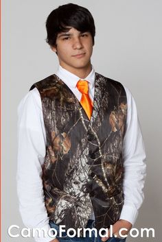 camo wedding vest with blaze orange tie | ... 6370 Welcome to Camo Formal - Camouflage Wedding and Camo Prom Formals