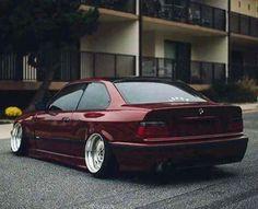 BMW E36 3 series burgundy slammed