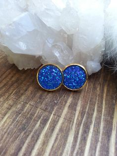Druzy Blue Stud Earrings Gold Studs Iridescent Jewelry