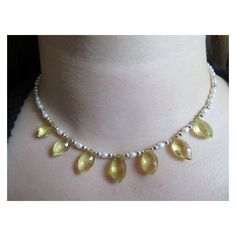 Lemon Quartz Marquise Necklace, Pearl Necklace, Lemon Quartz Necklace,... ❤ liked on Polyvore featuring jewelry, necklaces, white pearl necklace, wrap necklace, sterling silver jewelry, sterling silver birthstone necklace and clasp necklace