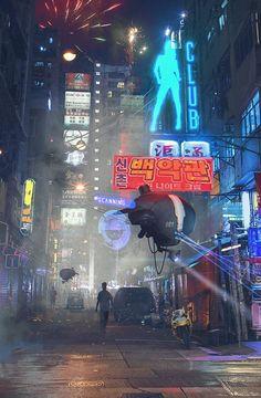Valhallan Nebula — Hong Kong Street Patrol by Sergey Zabelin Cyberpunk Aesthetic, Cyberpunk City, Arte Cyberpunk, Futuristic City, Blade Runner, Science Fiction, Vaporwave, Space Opera, Sci Fi City