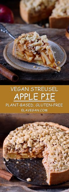 This vegan apple pie with streusel is the perfect fall dessert. The recipe is vegan, gluten-free, can be made nut-free, grain-free, and refined sugar-free! Also great for Thanksgiving! #vegan #glutenfree #applepie #streusel #dessert | elavegan.com