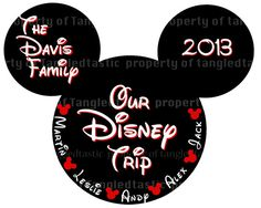 Items similar to Mickey Family Trip PRINTABLE  FIVE Names Iron On DIY Mouse Disney Names  Family Magnet Shirt on Etsy