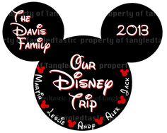 Items similar to Mickey Family Trip PRINTABLE  FIVE Names Iron On DIY Mouse Disney Names  Family Magnet Shirt on Etsy