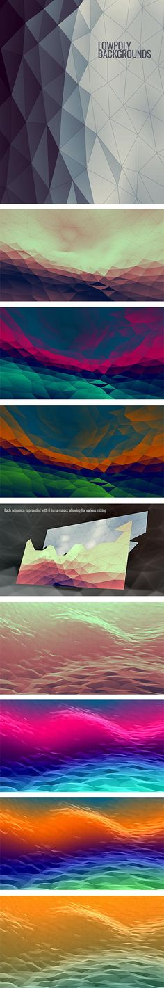 Two sequences in various color schemes with six masks each, allowing for custom mixing. #motion #graphics #lowpoly #low #poly #background #loop #animation