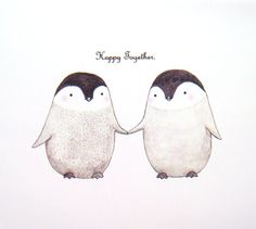 Cute Penguin Love Original Animal Illustration Print Grey Black White Home Wall Decor 4x6. $7.99, via Etsy.