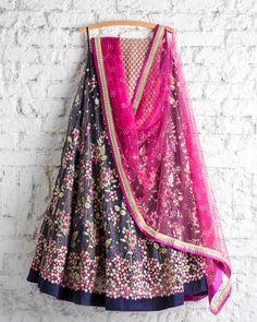 SwatiManish : Persian blue pink and beige tread work lehenga and pink badla dupatta