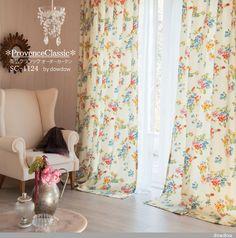 【南仏クラシック】プロヴァンス風の水彩画のような花柄プリントのオーダーカーテン&シェード【SC-1124】ホワイト Drapes Curtains, Interior, Home Decor, Indoor, Homemade Home Decor, Design Interiors, Interior Design, Home Interiors, Decoration Home