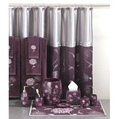 Bathroom on pinterest purple bathrooms purple and for Purple and grey bathroom ideas