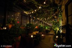 We love the sexy Gramercy Terrace at the Gramercy Park Hotel in NY, and the strung lights make it even more romantic.