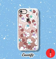 Casetify iPhone 7 Case and Other iPhone Covers - Cute Winter Snowmen Hand Painted Watercolor Illustrations for Christmas by designer BlackStrawberry | #Casetify