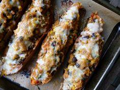 Tex Mex Stuffed Sweet Potato Skins - with avocado instead of sour cream in the filling! - www.pamelasalzman.com