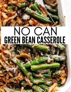 No Can Green Bean Casserole is a homemade green bean casserole that uses no canned soups. Homemade, fresh flavors, that will win over the whole family with one single bite. Mushroom, creaminess, tender green beans, and crispy fried onions. #nocan #nocannedsoup #greenbean #casserole #sidedish #holiday #cooking #recipe Party Side Dishes, Side Dishes For Bbq, Vegetable Side Dishes, Side Dish Recipes, Vegetable Recipes, Vegetarian Recipes, Cooking Recipes, Casserole Dishes, Casserole Recipes
