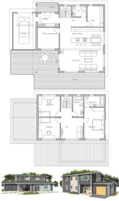 Modern Small House Plan, covered terrace to enjoy outside living. Nice & large living areas. Second living area on the second floor. Floor Plans from ConceptHome.com