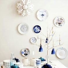 Delft's blue plates on wall