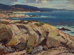 """Golden Shores, Laguna Beach,"" Carl Oscar Borg, ca. 1920, oil on panel, 18 x 32 1/2"", Laguna Art Museum."