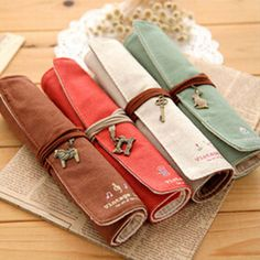 Mini Vintage Canvas Roll-Up Pencil Pouch - MIMO Pencil Case Shop  - 1