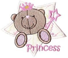 FREE! Princess Bear Applique - 4x4 | FREE | Machine Embroidery Designs | SWAKembroidery.com