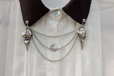 Silver Bird Skull Collar Clip Collar Chain (16.00 USD) by DapperandSwag