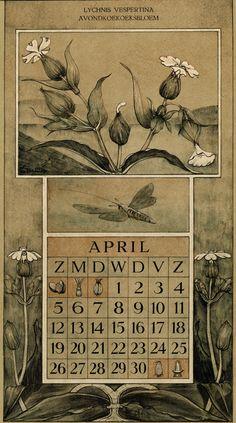 Le Roy, Charles, illustrator. April. Botanische kalender (Dutch botanical calendar). 1925.