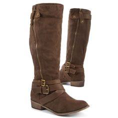 Brown Double Strap Buckle High Leg Boots ($65) ❤ liked on Polyvore