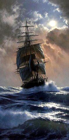 Ship Paintings, Seascape Paintings, Landscape Paintings, Pirate Art, Pirate Boats, Pirate Ships, Ship Tattoo Sleeves, Boat Painting, Pirate Ship Painting