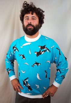 Vintage 1980s Orca Killer Whale Shirt Top by RogueRetro on Etsy I would wear this everyday of my life.