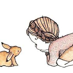 Conejo y niña