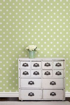 Make walls come alive with the Green Dottie NuWallpaper design that is both easy to install as well as take down!
