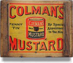 Victorian wooden advertising panel: Colman's Penny Tin Mustard