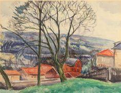 Henry Varnum Poor Landscape 17 X 14 in (43.18 X 35.56 cm) Watercolor Creation Date:  1919 Signed
