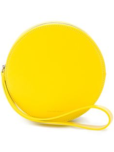 Yellow leather puck in sun bag from Building Block featuring a side handle and one main compartment . African Wear Dresses, Round Bag, Yellow Leather, Saddle Bags, Zip Around Wallet, Women Wear, Purses, Building, Accessories