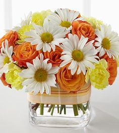 orange daisies and yellow roses bouquet - Google Search