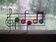 Vintage Stained Glass Music Notes Staff Treble Clef Suncatcher | eBay