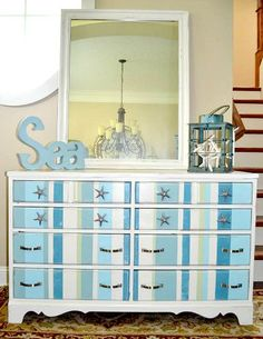 Paint a Dresser Blue for a Beachy Vibe! 8 Ideas: http://www.completely-coastal.com/2011/08/paint-dresser-blue-7-makeovers-with.html
