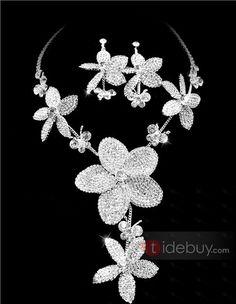 Attractive Clear Crystal Wedding Bridal Jewelry Set-(Including Necklace,earring) NF2875 : Tidebuy.com