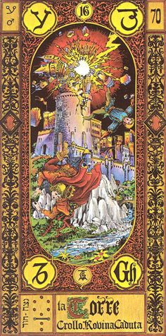 XVI. The Tower - Tavaglione Tarot - The Stairs of Gold Tarot by Giorgio Tavaglione