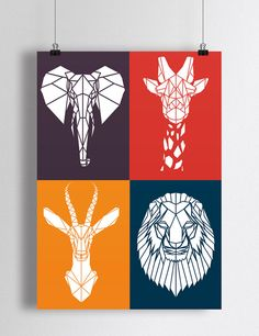 Art Print Bright colored safari animals for nursery orange, navy, purple, red Animal Art Stencil Animal, Stencil Art, Geometric Drawing, Geometric Art, Art Pop, Motifs Animal, Safari Animals, Animal Design, Animal Drawings