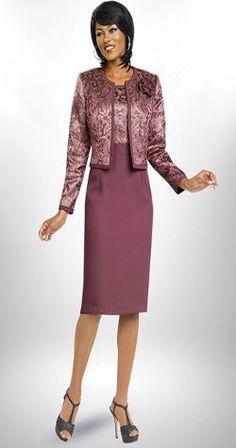 Maroon 2 Piece Women's Suit Jacket and Skirt Set