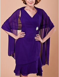 Sheath/Column V-neck Knee-length Chiffon Mother Of The Bride Dress With A Wrap - USD $ 148.49