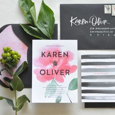"Brides.com: . ""Modern"" watercolor wedding invitation suite, price available upon request, Julie Song Ink."