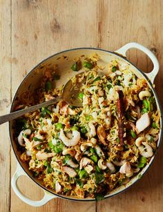 Salmon, prawn and broad bean pilaf | Ready in 40 mins and gluten free this recipe is a great midweek meal to try tonight!