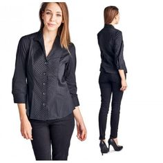 4bb194f91dfe8 Zac Rachel Women s Button Down Pleated Collar Shirt    Black  casualstyle   casualoutfits