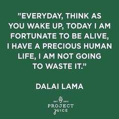 """Inspiration from the Dalai Lama... """"Everyday, think as you wake up, today I am fortunate to be alive, I have a precious human life, I am not going to waste it."""""""