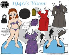 A red-headed printable paper doll with 1940's fashions including three diereses, three hats, purses and shoes. Free to print in color from paperthinpersonas.com.